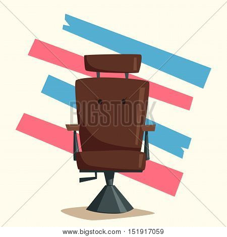 Barber shop. Cartoon vector illustration. Vintage hairstyle. Lounge chair