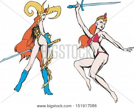 Fantasy set of two marvelous amazon women with swords. Mythical lady warriors.