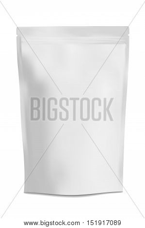 White Blank Foil Food Doy Pack Stand Up Pouch Bag Packaging With Zipper. Illustration Isolated On White Background.