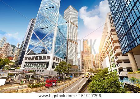 Modern high-rise buildings in Hong Kong, China