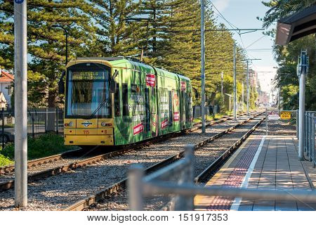 Adelaide Australia - August 16 2015: Adelaide Metro tram heading towards Moseley Square Glenelg from Adelaide city on a day. Moseley Square is a public place in the City of Holdfast Bay where trams terminate.