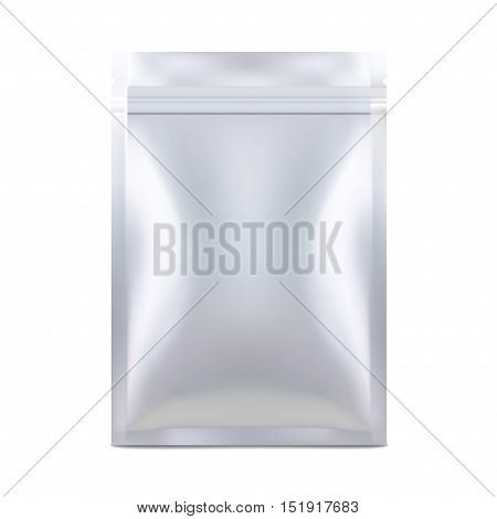 White Mock Up Blank Foil Food Or Drink Doypack Bag Packaging. Plastic Pack Template Ready For Your Design. Vector EPS10