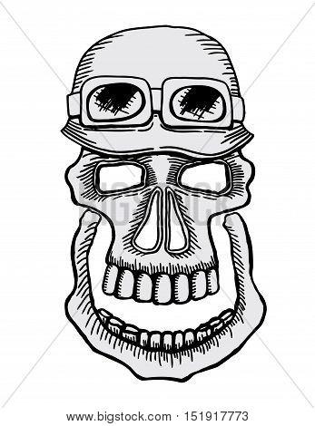 Skull emblem motorcycle helmet and motorcycle glasses on a white background. Symbol brutal biker subculture. Vector t-shirt design