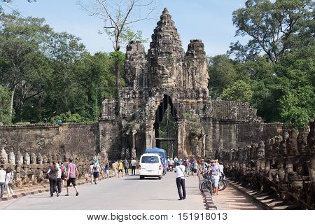 SIEM REAPCAMBODIA-OCT 14 : Tourist went in Angkor Thom October 14 2016 Siem ReapCambodia.