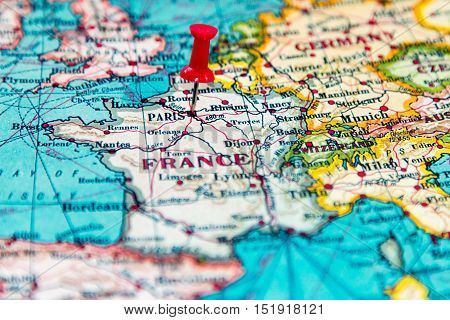 Paris On Europe Map.Paris France Pinned On Vintage Map Of Europe Poster Id 151918121