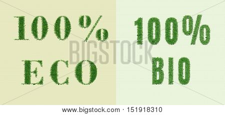Ecology design. The word 100 eco bio is made of grass. Environmental concept for advertisement healthy food, ecological products, lifestyle, etc. Vector illustration. Horizontal location.