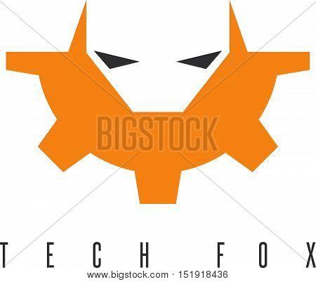 Fox Head And Gear Vector Design Template