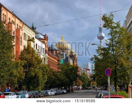 A Berlin street looking towards the TV tower.