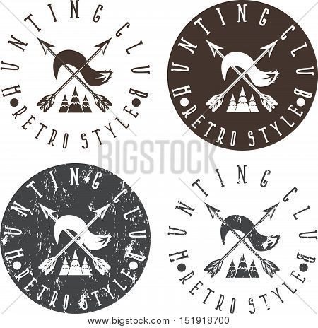 Hunting Club Labels Set With Arrows And Fox Tail