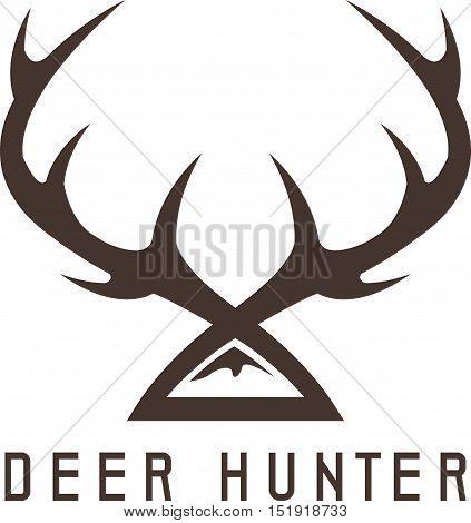 deer horns vector design template hunting illustration