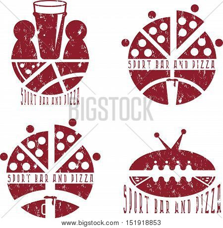 Vintage Grunge Labels Set Of Sport Bar And Pizza