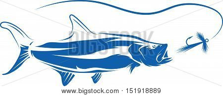 Tarpon Fish And Lure Vector Design Illustration