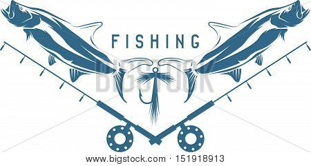 Fishing Vintage Vector Illustration With Tarpon Fish ,lure And Fishing Rod
