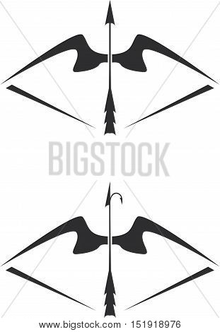 Vector Illustration Of Bow Weapon With Arrow