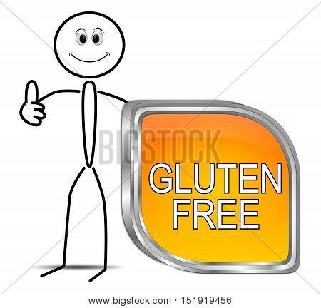 Stickman with Gluten free Button - 3D illustration