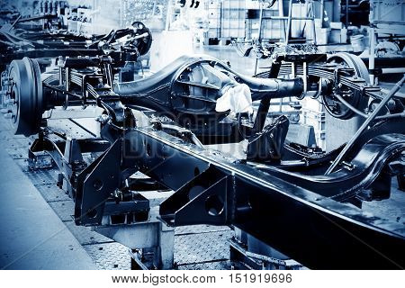 Pickup truck production workshop, neat parts and components production lines.