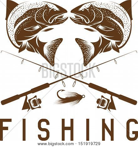 Vintage Fishing Vector Design Template With Trout