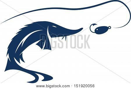 Sturgeon Fish And Lure Vector Design Template