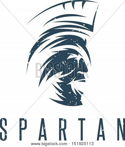 Old Vintage Antiques Spartan Warrior Grunge Vector Design Template