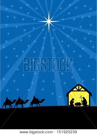 Christmas Christian nativity scene illustration. Three wise men are coming to Jesus.