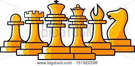 Vector flat illustration of chess figures, isolated on white background