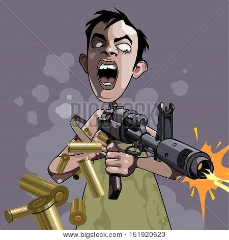 cartoon caricature of an emotional man fires a gun