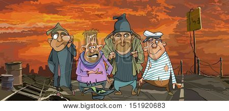 cartoon funny homeless men in ragged clothes in ruins