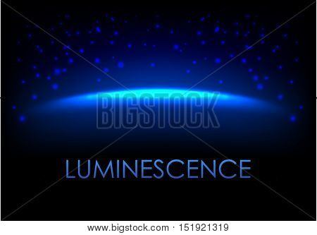 Blue luminescence abstract background with empty space for your design. Galaxy or universe vector illustration with stardust.