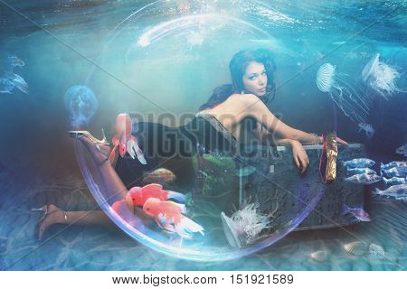 beautiful fantasy woman under water composite image