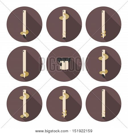 set of flat icons screw piles in vector format eps10