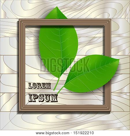 Wooden frame design with green leaves and place for text. Wallpaper background for your content. Eps 10 stock vector illustration