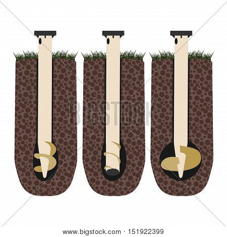 flat screw piles in the ground vector format eps10