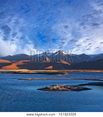 Tso Kar Salt Water Lake In Ladakh, North India.