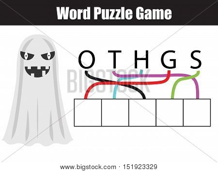 Words puzzle children educational game. Place the letters in right order. GHOST. Learning vocabulary. Printable worksheet