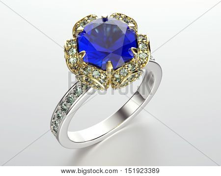3D illustration of gold Ring with Diamond. Jewelry background. Fashion accessory. Sapphire gemstone