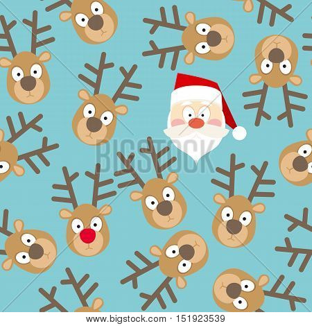Christmas Seamless Pattern with Santa Claus and Deers Faces in Flat Style on a Blue Background