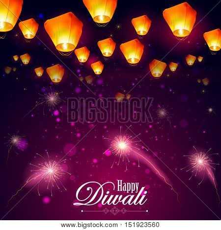 easy to edit vector illustration of floating lamp and firework in Diwali holiday night