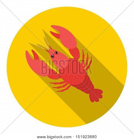 Boiled lobster icon in flat style isolated on white background. Oktoberfest symbol vector illustration.