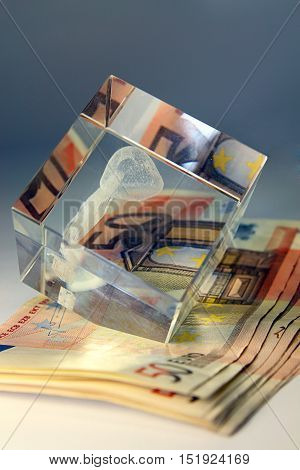 Stack of banknote 50 euro. Money and finance concept