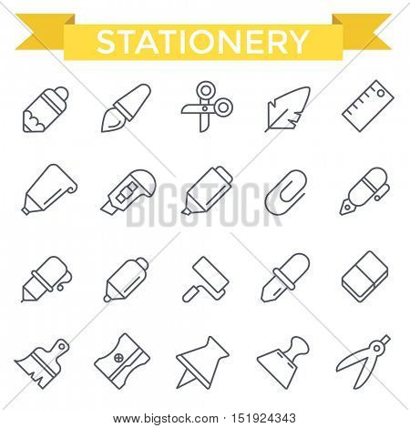 Stationery icons, thin line flat design