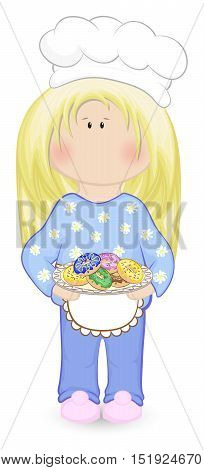 Doll-like girl in apron and cap holding a plate with colorfull donuts. Vector illustration.