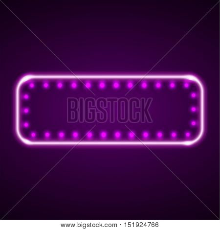 The neon violet frame with LED illumination in a retro style. The shining billboard with the place for the text. The vectorial burning template in ancient style. A rectangular sign with lamps.