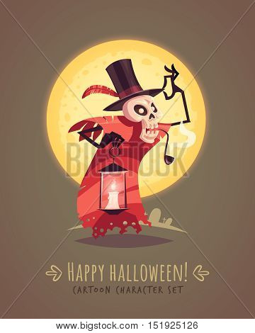 Skeleton in a top hat with candle lamp. Halloween cartoon character concept. Vector illustration.