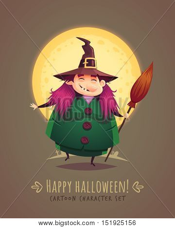 Funny witch with broom. Halloween cartoon character concept. Vector illustration.