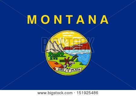 Montanan official flag symbol. American patriotic element. USA banner. United States of America background. Flag of the US state of Montana in correct size and colors illustration