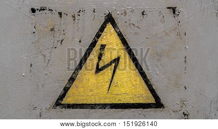Attention sign, high voltage sign, high voltage warning sign, grunge electricity