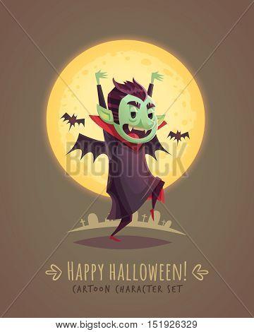 Funny scaring vampire. Halloween cartoon character concept. Vector illustration.