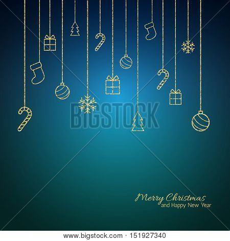 Christmas background . Flat Christmas greeting card with gold baubles, snowflakes and candy cane, tree, gift icons. Blue background