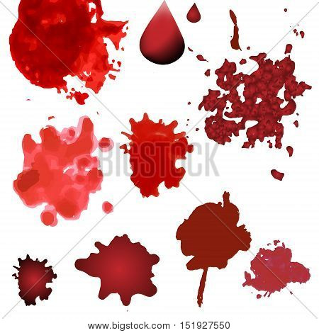 Vector blood splatters isolated on white. Red splashes, drops and blots design elements in various style