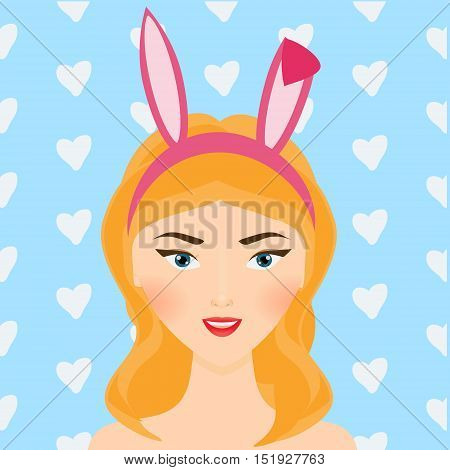 Cute smiling girl with bunny ears. Blondie woman with sexy hair accessories. Vector illustration